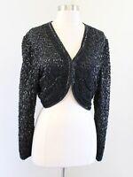 Vtg Laurence Kazar Black Silk Beaded Sequin Crop Bolero Jacket Party Evening L