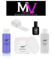 Liquido Acrilíco + Polvo acrilico Rosado + Primer + cleaner + 50 toallitas nded