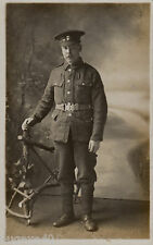 WW1 soldier Private Northumberland Fusiliers wears economy tunic