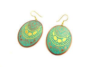 Fair Trade Earrings, Ethnic Oval Metal Disc Bohemian Design, Made in India