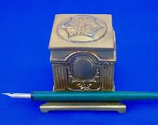 Vintage Gold-finish Inkwell Neoclassical Styling, ink cup in place, late 1800's?