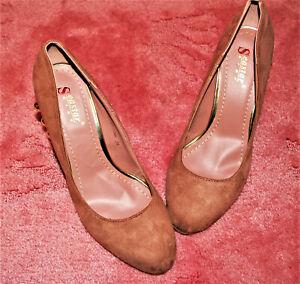 👠sexy rosa Pumps❤altrosa Halbschuhe mit goldener Verzierung❤High Heels Gr. 39