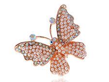 Crystal Aurore Boreale Rhinestone Pearl Bead Encrusted Butterfly Bug Charm Rings