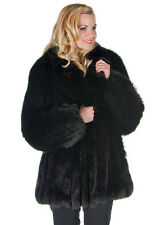 Womens Genuine Real Fox Fur Jacket Coat XL Black 29 - Shawl Collar