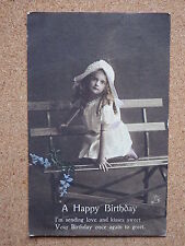 R&L Postcard: Greetings, Birthday, Raphael Tuck, Pretty Girl on Bench, Tinted