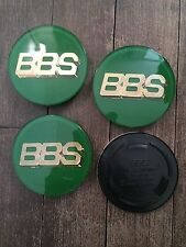 4x BBS RS RM Style 70.6mm Badges Centre Caps Logo Nut Green / Gold 3 Prong 70mm
