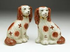 New STAFFORDSHIRE Ceramic  Dogs ~  Brown & White ~  Gold Trimmed Collar