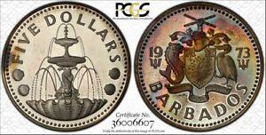 1973-FM $ 5 Dollar Barbados PCGS PR65DCAM Beautiful Color Toned Proof!!