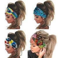Women Headband Floral Print Elastic Turban Knot Hair Band Hair Accessories X5T7