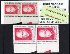 32) Berlin MiNr. 624 ** aus Zusammendruck Typ II mit zwei Farbkeilen den SKM RRR