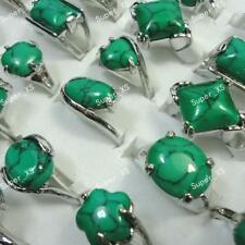 60pcs Turquoise Stone Rings Silver Plated Women Men Wholesale Jewelry Mix Green
