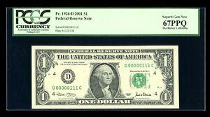 DBR 2001 $1 Serial 111 Binary 1/0 Superb Gem Fr. 1926-D PCGS 67 PPQ # D00000111C