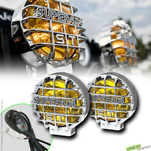 """4X4 Off Road 6"""" Round Yellow Fog Lights Bull Guard Bar Roof Bumper For Jeep V6"""