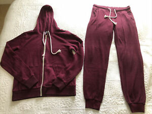 H&M Divided Wine Burgundy Hooded Zip Up Tracksuit Bottoms XS Top M