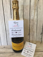 Rustic/Vintage Personalised 'Thank you for being my Bridesmaid' bottle tag