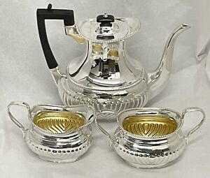 Amazing Late Victorian Solid Sterling Silver 3 Piece Coffee Set