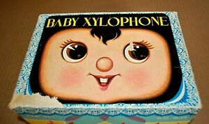 VINTAGE WALKING BABY XYLOPHONE TOY BATTERY OPERATED TIN METAL COMPLETE WORKS!