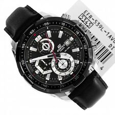 IMPORTED Casio Edifice Imported EFR-539LB Black Leather strap Men's watch.NEW