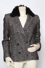 ELIZABETH & JAMES Black & White Herringbone Wool FOX FUR Jacket Coat - Size S