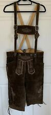 100% Authentic Oktoberfest Lederhosen Suspenders Sz 34 Brown Suede Leather