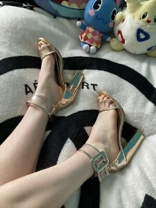 Rose Gold Used High  Heels Well Worn As Seen See Through Size 5