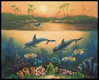 "* 10""x8"" Oil Painting on Canvas, Dolphins, Hand Painted"