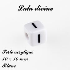 Perle acrylique alphabétique de 10 x 10 mm, Blanc : Lettre I (Lot de 10 perles)