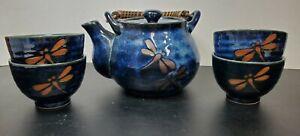 Teavana Blue Dragonfly Tea Set--Teapot and 4 Cups