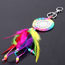 Rainbow Color Dream Catcher feather Keyring Bag Pendant Decoration Keychain Gift