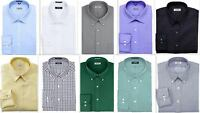Mens Dress Shirt IZOD Regular Fit Cotton Rich Easycare Long Sleeve