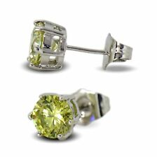 9ct White Gold Filled Womens Stud Earrings Light Yellow 7mm Crystals 9K GF
