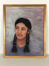 Attractive NATIVE AMERICAN Woman - Original Outsider Art - Pastel Drawing NOEMI