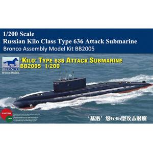 Bronco BB2005 1/200 Russian Kilo Class Type 636 Attack Submarine Assembly Model