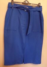 Ladies Marks and Spencer Cobalt Blue Midi Skirt With Belt Size 20