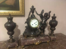 French Figural Clock Antique 3 Pc Set w/Marble
