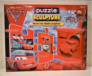 DISNEY PIXAR CARS 2 3D SCULPTURE PUZZLES McQUEEN MATER 4 x 36 PIECE puzzles TOY