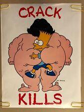 Bart Simpson Original Vintage Poster Crack Kills T.v. Memorabilia Pin Up 90's