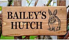 Personnalisé Lapin signe plaque porte Hutch Run plaque Bunny nom propre rustique bois