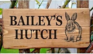 PERSONALISED RABBIT SIGN PLATE GATE HUTCH RUN PLAQUE BUNNY OWN NAME RUSTIC WOOD