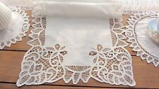 "Vintage Handmade Battenburg Lace Table Runner/Dresser~White~16""*36""~Butterfly~"