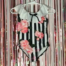 Betsey Johnson black + white striped pink floral one piece swimsuit Ruffle 18M