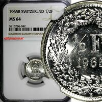 Switzerland Silver 1965 B 1/2 Franc NGC MS64 GEM BU KM# 23 (042)
