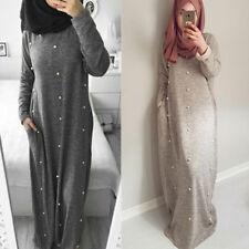 Women Cotton Beaded Knit Dress Muslim Casual Pearls Kaftan Abaya Dubai Maxi Robe