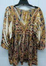 Energe World Womens Plus Size Top Size 2X XXL Bold Colors V Neck RRB105-4