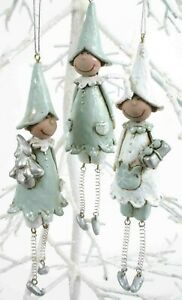 SET OF 3 SILVER AND WHITE CHRISTMAS ELVES HANGING TREE DECORATIONS ***SALE***