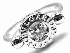 Authentic! Bvlgari Bulgari Flip 18k White Gold .20ct Diamond Ring