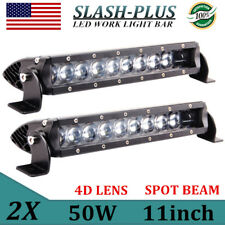2X 10inch 50W 3D Single Row Led Light Bar Spot Offroad Slim Bumper Roof Bull Bar