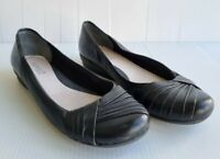 Diana Ferrari Size 8C Black Leather Flat Slip On Closed Round Toe Comfort Shoes