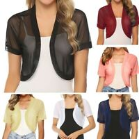 Women Chiffon Sheer Shrug Bolero Short Sleeve Summer Cardigan Crop Tops Tees