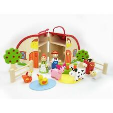 NEW Children's Kaper Kidz Wooden Farm Carry Play Set with Barn and Animals